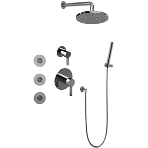 Graff GB5.122A-LM46S-PN Full Thermostatic Shower System w/ Diverter Valve, Polished Nickel