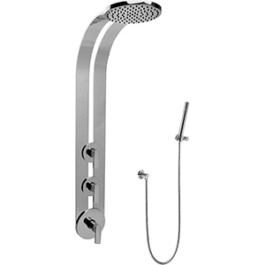Graff GD2.020A-LM42S-SN-T Round Thermostatic Ski Shower Set w/Handspray (Trim Only), Steelnox (Satin Nickel)