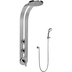 Graff GD2.030A-LM42S-PC-T Round Thermostatic Ski Shower Set w/Handspray (Trim Only), Polished Chrome