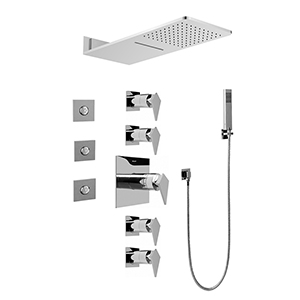 Graff GH1.123A-LM23S-PC Full Square Thermostatic Shower System, Polished Chrome