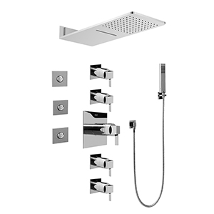 Graff GH1.123A-LM39S-PC-T Full Square Thermostatic Shower System - Trim, Polished Chrome