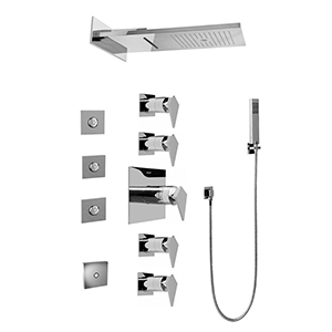 Graff GH1.124A-LM23S-PC Full Square LED Thermostatic Shower System, Polished Chrome