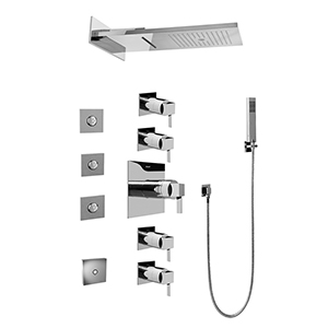 Graff GH1.124A-LM39S-PC Full Square LED Thermostatic Shower System, Polished Chrome