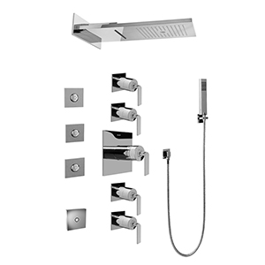 Graff GH1.124A-LM40S-PC Full Square LED Thermostatic Shower System, Polished Chrome