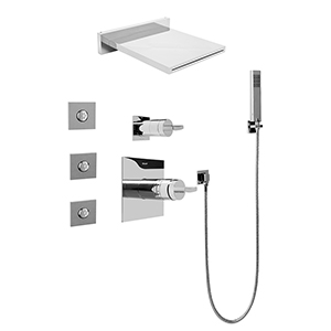 Graff GH5.125A-C14S-PC Square Water Feature System w/Diverter Valve, Polished Chrome