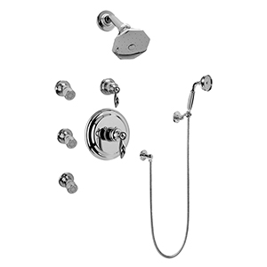 Graff GH5.222B-LM14S-PC-T Full Thermostatic Shower System with Transfer Valve (Trim Only), Steelnox (Satin Nickel)